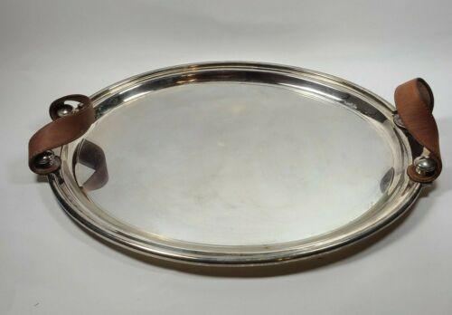 Vtg deco Plata Lappas Argentina Silverplate Large Tray Platter leather handles