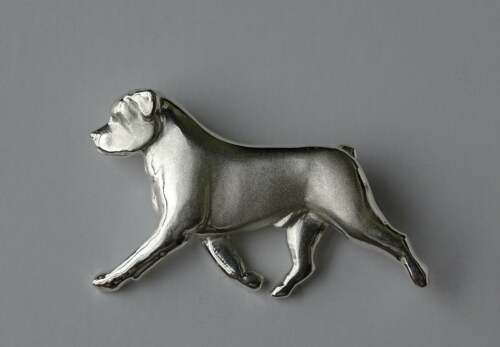 Large Sterling Silver Rottweiler Moving Study Brooch
