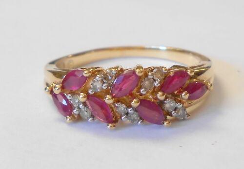 Marquise Ruby & Round Diamond Floral Spray Retro 10K Yellow Ring Size 8
