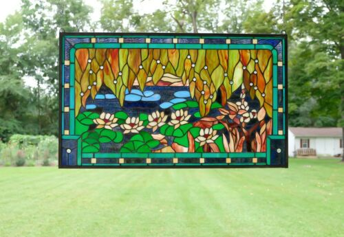 "34.75"" x 20.5"" Stained glass window panel Waterlily Lotus Flower Pond"