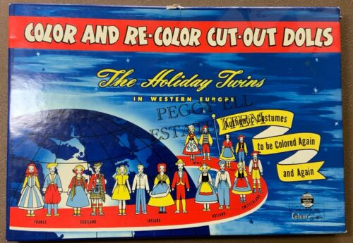 "1948 RARE!! CELCO CORP. ""COLOR AND RE-COLOR CUT-OUT DOLLS, THE HOLIDAY TWINS"""