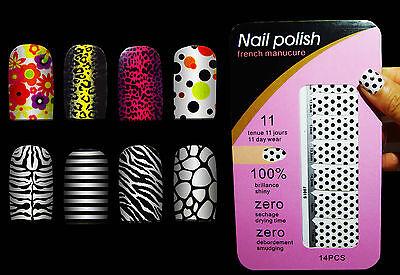 High Quality Dots - Nail Polish Sticker High Quality 8 Design Leopard Tiger Floral Marble Dots 14pcs