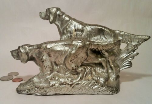 HUNTING DOGS vtg irish setter bookends pointer bird figurine statue book library