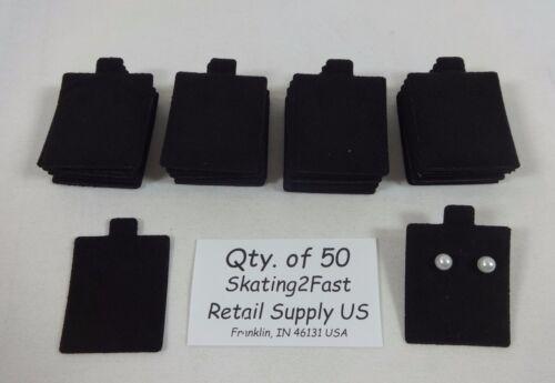 "1.5"" x 1.75"" Black Plain Felt Puffed Earring Cards Hold Qty. 50"