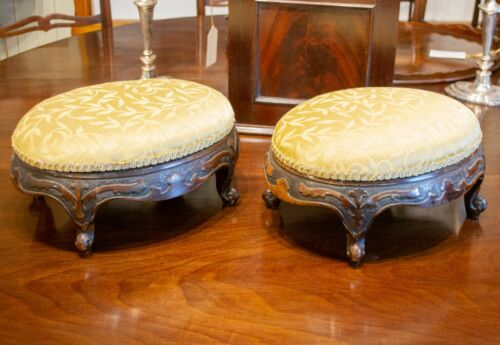 Pair 1870 Rosewood Footstools Carved Gold Upholstery Antique Victorian English