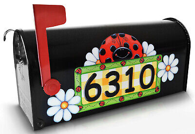 Mailbox Magnet Partial Cover Car Ladybug PERSONALIZED w/set of 2 daisies -