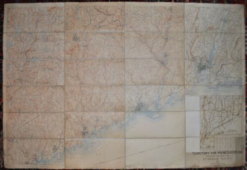 Pre WWI Territory For Maneuvers Map - 3rd Brigade N.G. N.Y. of New York & Conn.