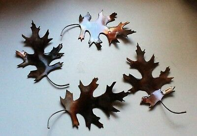 "METAL OAK LEAVES 4 natural look counter/table top  COPPER/BRONZE  5"" wide, used for sale  Shipping to Canada"