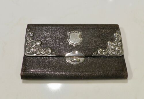 Edwardian 1905 Ladies Leather Wallet with Sterling Silver Mounts