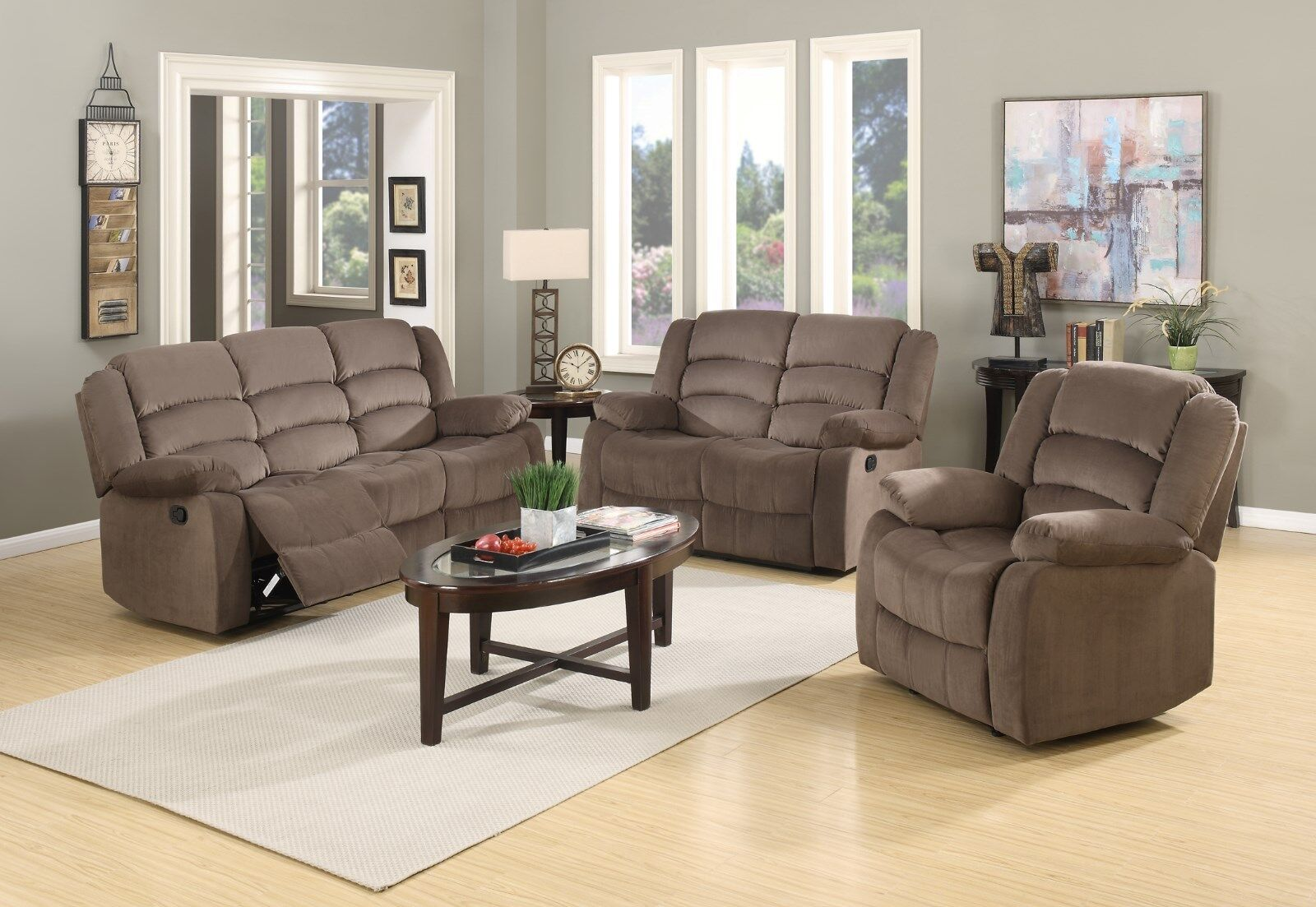 3 PCS Reclining Living Room Set in Chocolate color Motion
