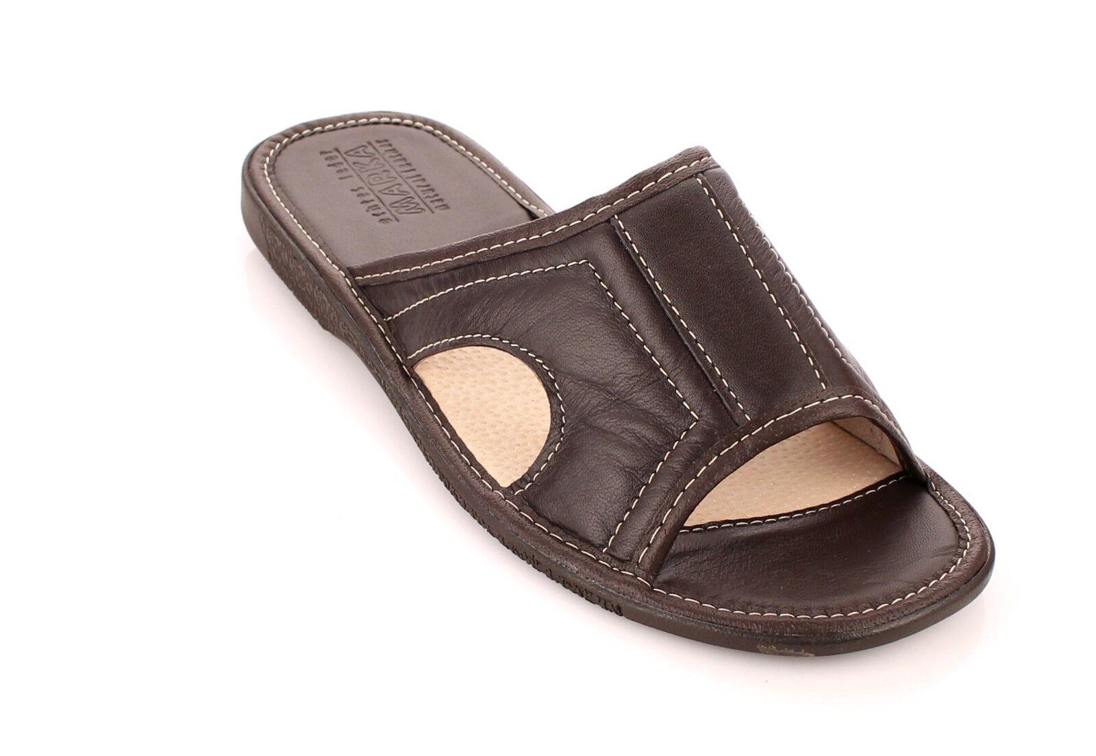 herren leder pantoletten braun pantoffeln hausschuhe. Black Bedroom Furniture Sets. Home Design Ideas