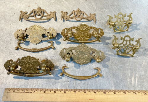 LOT OF 8 ANTIQUE DRAWER HANDLES PULLS brass metal HARDWARE