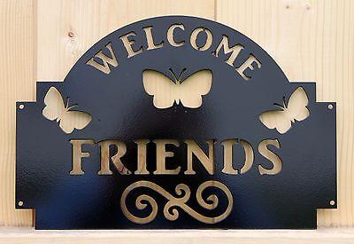Art Welcome Sign - Welcome Friends Sign Butterflies and Scroll Plasma Cut Metal Art Black USA Made