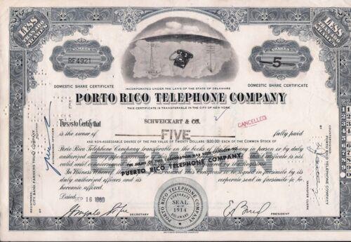 Stock certificate Porto (Puerto) Rico Telephone Company Less Than 100 shares
