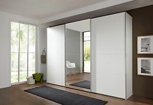 SlumberHaus German Ernie 270cm White & MIrror 3 Door Sliding Door Wardrobe