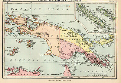 Antique Map Of New Guinea & New Caledonia  1880