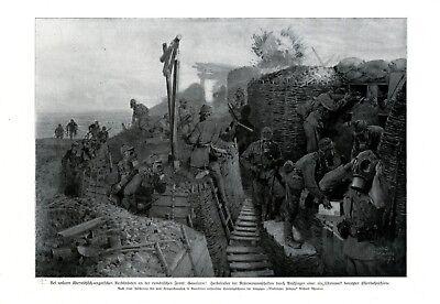 Gasalarm im Schützengraben XL Kunstdruck 1917 Österreich Ungarn Gasmaske