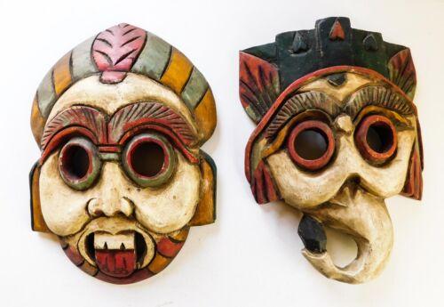 2 Vintage Wood Carved Masks Painted Tiki Folk Art Thailand