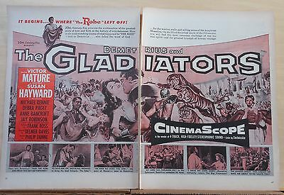1954 two page magazine ad for movie Demetrius & The Gladiators - Robe sequel