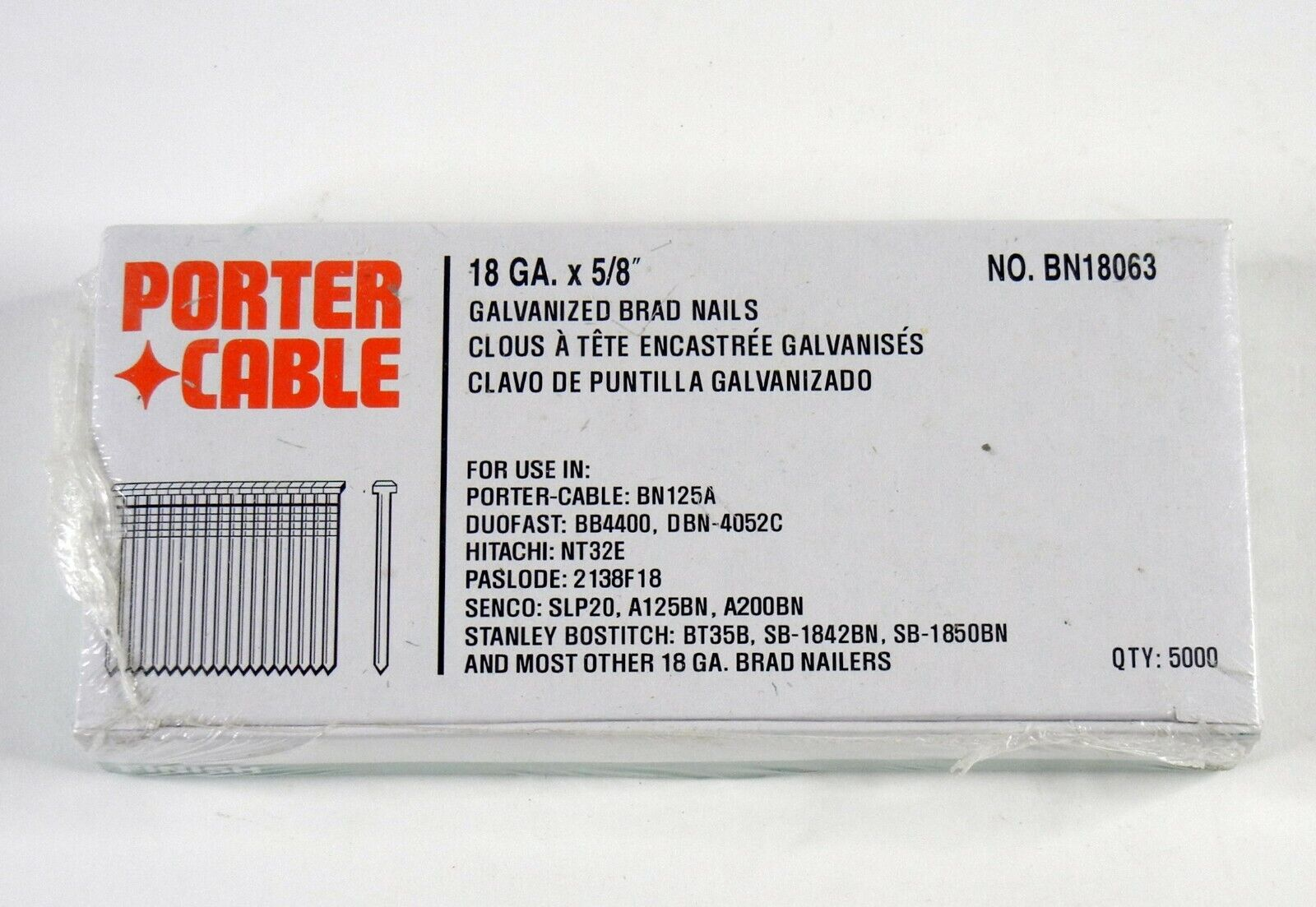 """Porter Cable 18 Gauge 5/8"""" Straight Finish Nails Qty 5000 BN"""