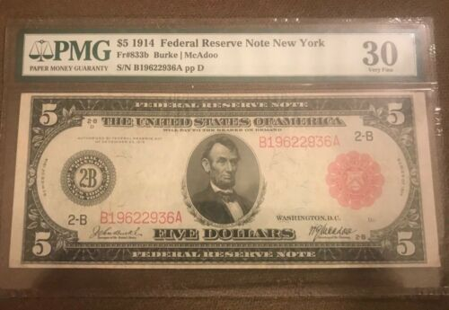 1914  $5 , Red seal,  federal reserve note , FR -833b , PCGS VF30