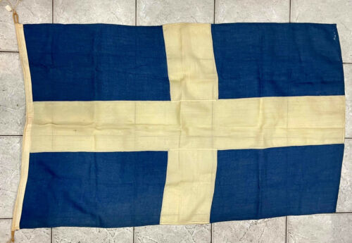 Vintage Greece Greek Cross Cotton Flag 84x137cm, by KOKKONIS (Athens), Very Old!