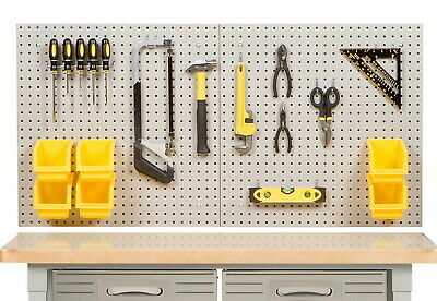 24 X 48 Steel Pegboard Garage Tool Storage Kit With 23 Peg Board Hooks 6 Bins
