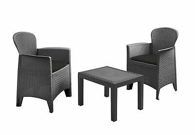 Rattan Gartenmöbel Set anthrazit - 2x Sessel + 1x Tisch - Balkon Set Sitzgruppe