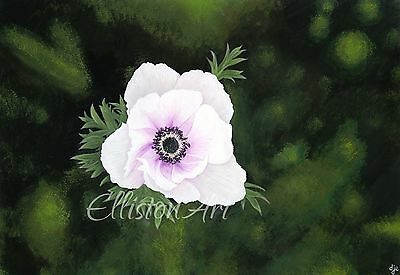 Flowers Christmas Floral Painting Prints A3 Realism lilac  Anemone De Caen