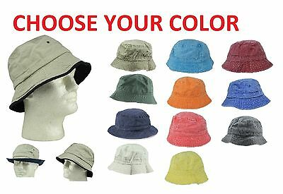 Cotton Fishing Bucket Hat Cap Black Green Blue Brown Beige Navy Red Mens M L XL - Red Bucket Hats