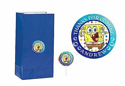 40 SpongeBob 2 inch Stickers Party Bag Tag Favors Lollipop Personalize Polka Dot - Polka Dot Party Bags