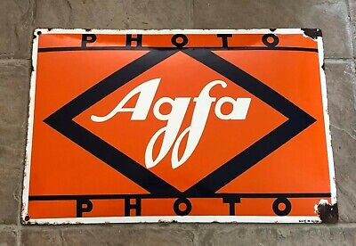 VINTAGE AGFA PHOTO CURVED ENAMEL SIGN ADVERT made in Germany 1930s