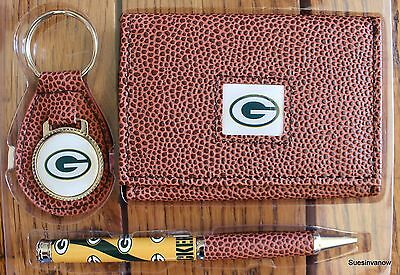 Nfl Football Mens Ring (Greenbay Packers Football NFL Tri-Fold Brown Wallet key ring Pen Gift Set  )