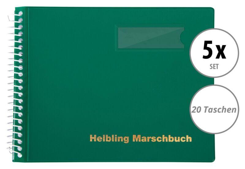 5 grüne Marschbücher im Querformat von Helbling mit 20 Taschen für Blaskapellen