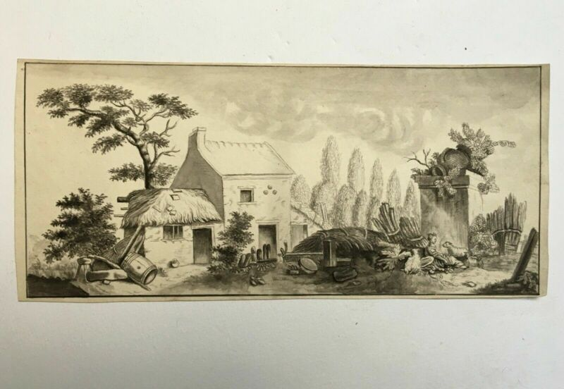 Old drawing, Ink wash, Animated bucolic scene, Early 20th century