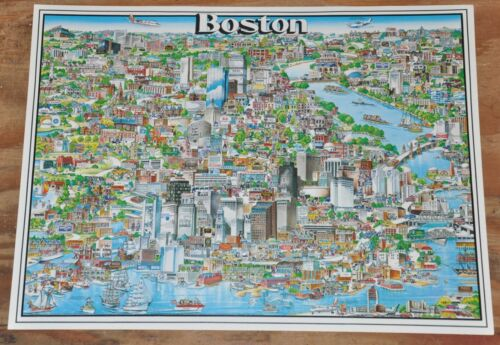 Vintage 1980 Boston Massachusetts City Character Print Drawing Map Poster Unique
