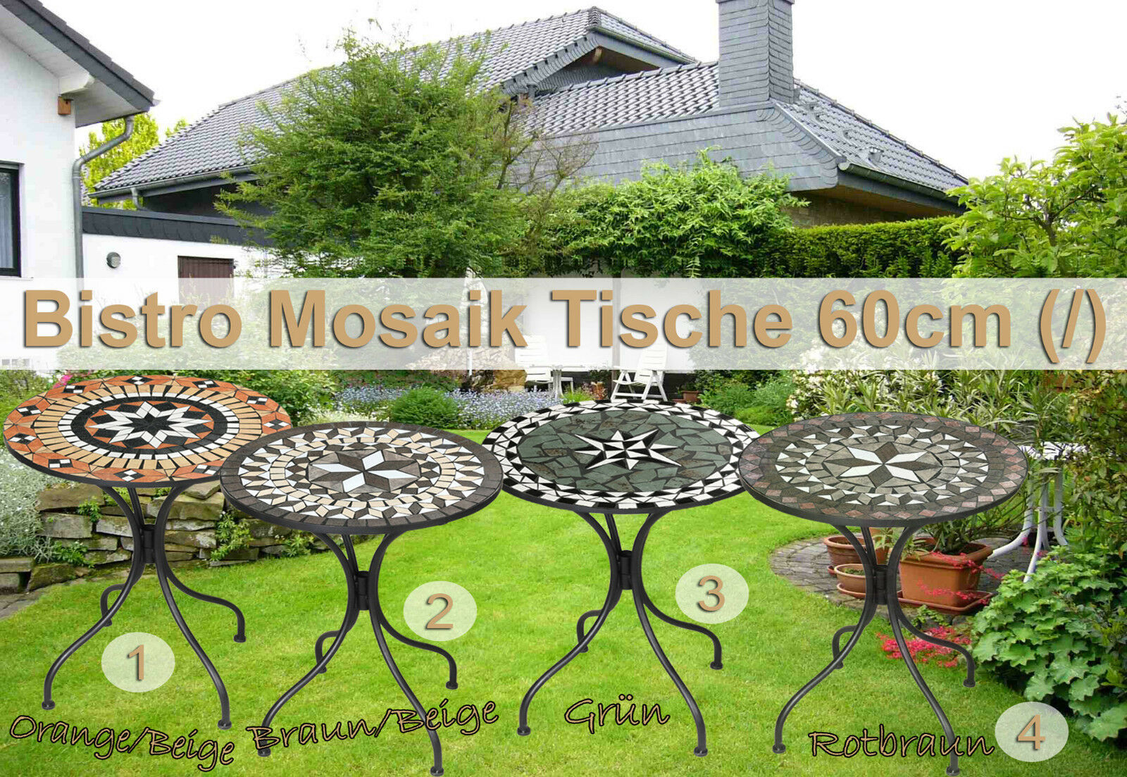 Bistro Mosaik Tisch / Garten Terrassen Tisch 60cm (/)