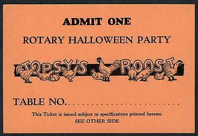 SAN FRANCISCO TOPSY'S ROOST 1930s ROTARY HALLOWEEN PARTY ADMISSION/TABLE TICKET - Halloween Parties San Francisco