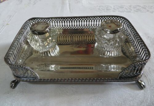 Antique Silverplate Desk Set with Lidded Ink Wells Footed c. 1900