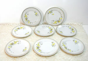 Charles-Ahrenfeldt-Limoges-Eight-6-1-2-034-Bread-Plates-Yellow-Roses
