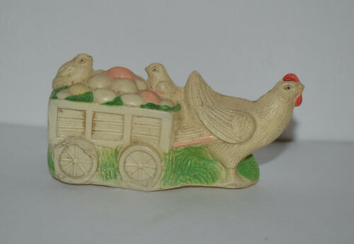 Vintage 1940s Celluloid Candy Container Rooster Wagon Chicks Easter Eggs