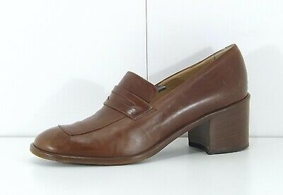 JOAN & DAVID Brown Tan LEATHER Retro Boho Ladies Court Shoes size UK 6 US 8.5