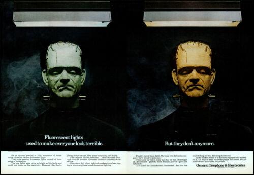 1970 Frankenstein Monster fluorescent lights GT&E retro photo print ad L83