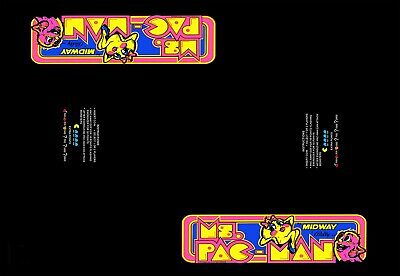 "NEW BLACK Arcade  Cocktail Table Underlay Ms. Pac-Man 23"" wide  x 33"" long"