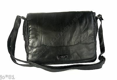 LADIES NEW SOFT NAPPA REAL LEATHER LADIES HANDBAG CROSS BODY SMART FLAP BAG
