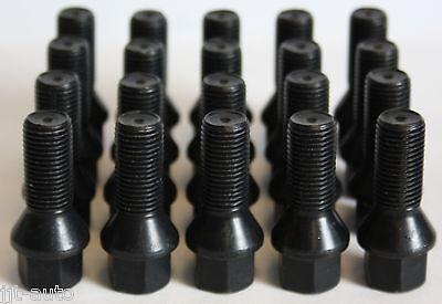20 X M14 X 1.5 BLACK TAPERED ALLOY WHEEL BOLTS FIT MERCEDES ML W163 W164 W166