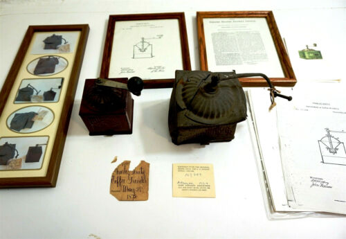 RARE 1872 Coffee Grinder PATENT MODELS frm Cliff Petersen Collection + paperwork
