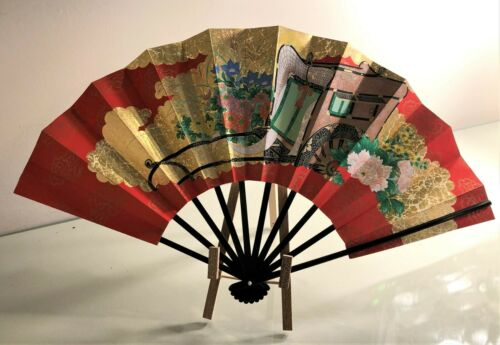 Vintage Japanese  Sensu Folding Hand Fan with Box and Easel
