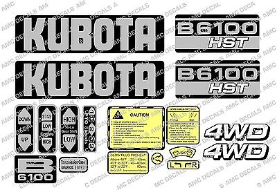 Kubota B6100 Hst Compact Tractor Decal Sticker Set