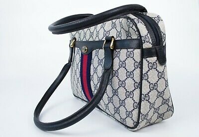 Women's GUCCI GG Rare Vintage Doctor Web Monogram Canvas Leather Hand Bag